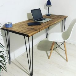 110 x 50 cm Home Office Desk / Office Small Table / Hairpin Industrial Dining Table / Vintage Table / Solid Wood / Metal Legs / Industrial Style Desk