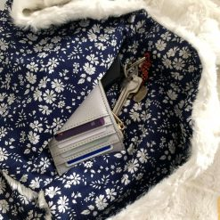 Faux fur and Liberty scarf with secret pocket: Navy 4