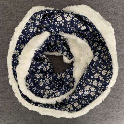 Faux fur and Liberty scarf with secret pocket: Navy