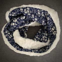 Faux fur and Liberty scarf with secret pocket: Navy 5