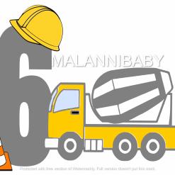 Birthday Cement Truck Age 6 SVG | Cricut | Silhouette | SVG ESP DXF JPEG PNG PDF