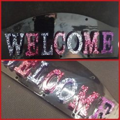 Welcome sign - black background