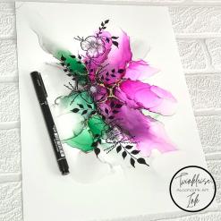 Original Alcohol Ink A4 Artworks - Bloomin Fancy