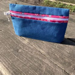 'Blue with Pink Contrast' Pencil Case