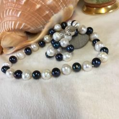 Peacock Blue and White Pearl Necklace Silver