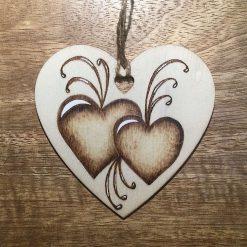 A Love Token Pyrography burnt Wooden Heart