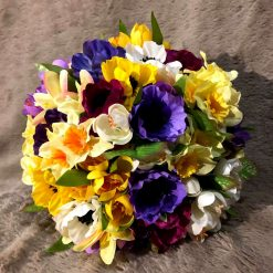 Spring bridal bouquet and matching groom's buttonhole
