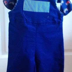 Tractor tee/shirt and navy Dungarees.
