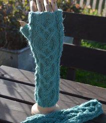 Alpaca Fingerless Gloves - Sea Green