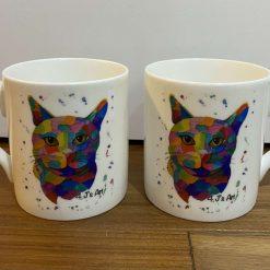 Colourful Cat Bone China Mug