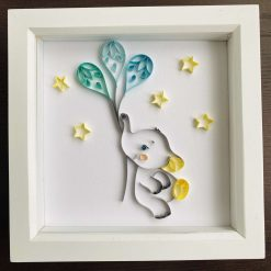 Baby elephant with balloons and stars - can be cusomised