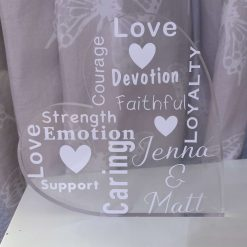 Personalised free standing heart
