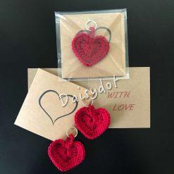 Hand crochet heart keyring valentines greetings card