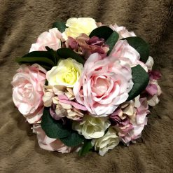 Vintage bridal bouquet and matching groom's buttonhole