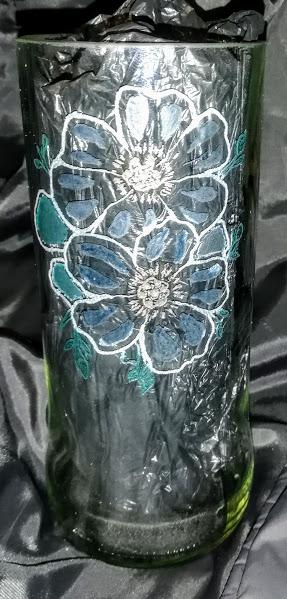 Hand engraved Vodka bottle Flower Vase and coloured Vase 1