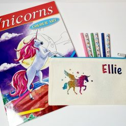 Letterbox Gift Unicorn Pencil Case Activity Set withUnicorn Colouring Book and Glitter Pencils (Personalised) Home Schooling