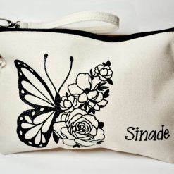 Butterfly and Flower Valentines Make up Bag / Pencil Case with Bag Charm (Can Be Personalised)