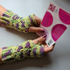 Handmade crocheted patterned fingerless gloves. ???