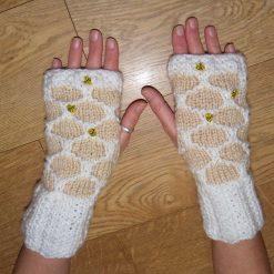 Honeycomb Fingerless Wrist Warmer Gloves