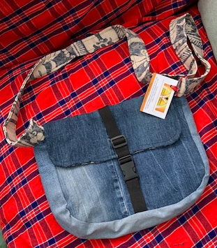 Buckled denim messenger bag 1 1