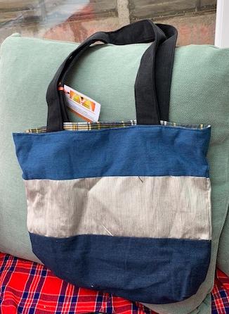 Denim Tote bag with contrast metallic stripe 1