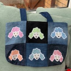Denim applique tote bag - poodles