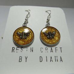 Honeycomb Bee resin craft drop earrings.