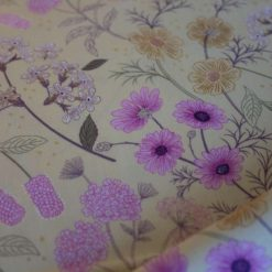 1/2 Mtr Garden Floral On Pale Yellow / Lewes & Irene 100% Cotton