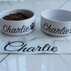 Personalised Dog Bowl,Pet bowl, Pet feeding bowls, Marble and ceramic white options.