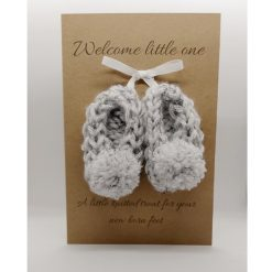 New baby knitted booties card