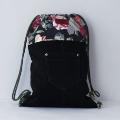 Upcycled Eco Friendly Adult/ Teenager Drawstring Backpack - Black/Floral/Purple