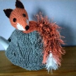 Hand Knitted Tea Cosy - Fox with Bushy Tail - fits small 1-2 cup teapot - FREE POSTAGE
