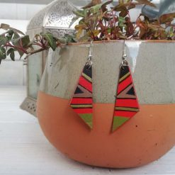 Wooden Drop Earrings Triangle African design flame red