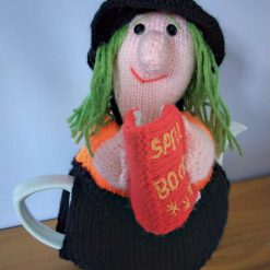 Hand Knitted Tea Cosy- Witch with Spell Book -fits 6 cup teapot - FREE POSTAGE