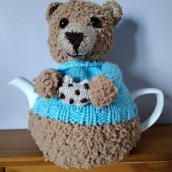 Hand Knitted Tea Cosy - Teddy Bear with Cookie - fits 6 cup teapot  - FREE POSTAGE