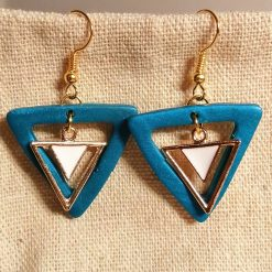 Peacock blue art deco triangle earrings, handmade