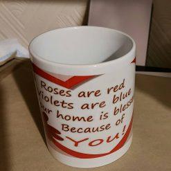 Valentines mug with heart handle