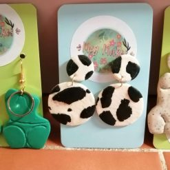 custom order: Cow print circle earrings handmade