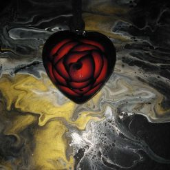 Pewter/red rose heart Goth pendant