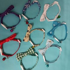 These Handmade Cat collars with Decorative bows and a bell are made in lots of lovely designs. with free UK postage.