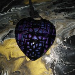 ❤ Hearts collection - Statement domed heart pendant -metallic blue, purple and black ❤