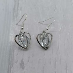 Silver Gemstone Heart Earrings