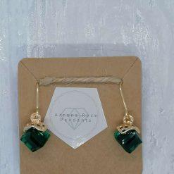 Emerald Facet Glass Dangle Earrings. 1