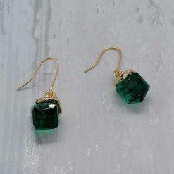Emerald Facet Glass Dangle Earrings. 5
