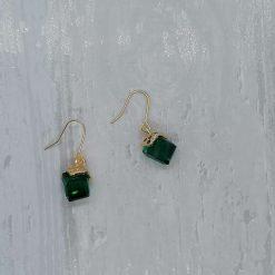 Emerald Facet Glass Dangle Earrings. 3