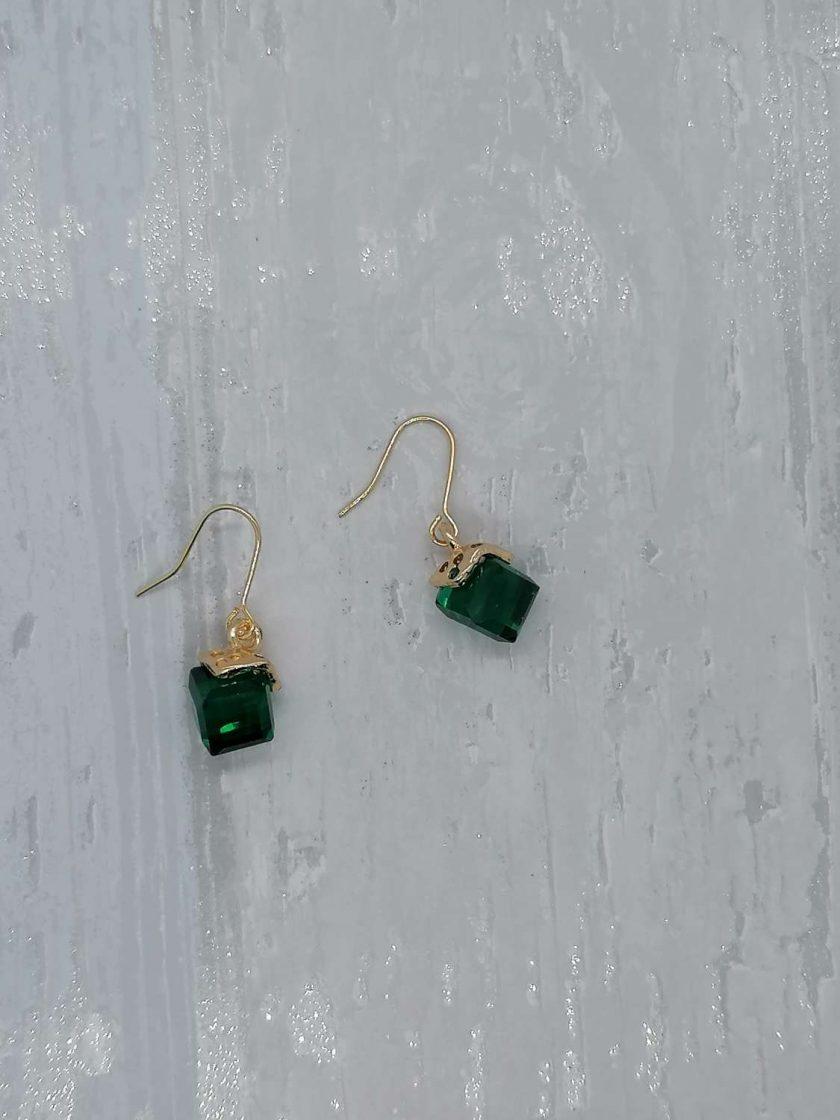 Emerald Facet Glass Dangle Earrings.