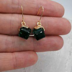 Emerald Facet Glass Dangle Earrings. 4