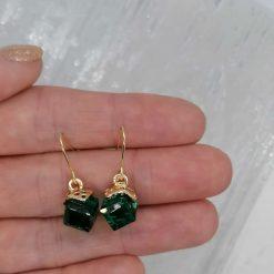 Emerald Facet Glass Dangle Earrings. 6