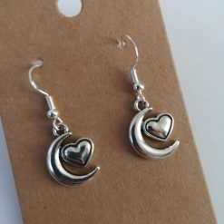 Moon and Heart Earrings