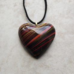 ❤ Hearts collection - Statement domed polymer clay heart pendant -rich stripes ❤